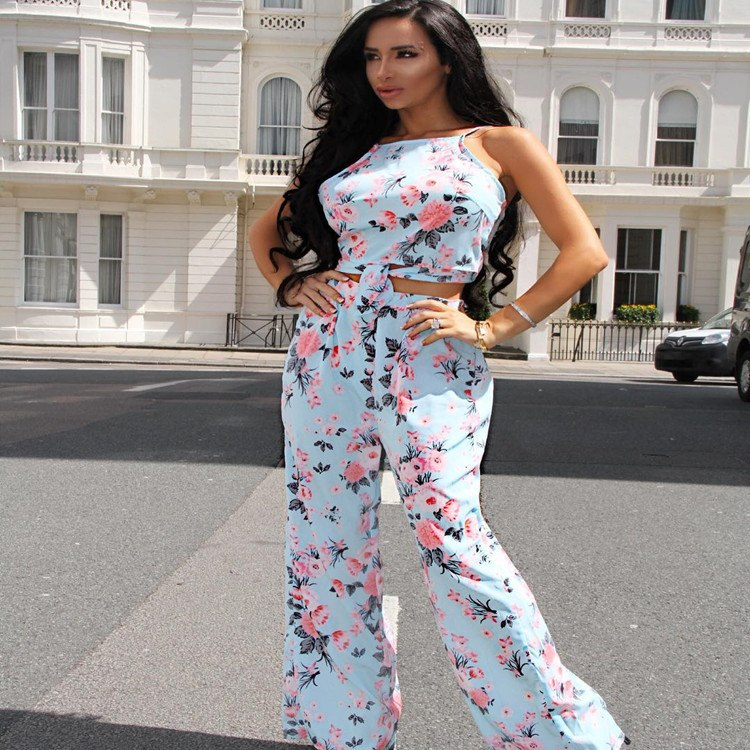 1dbe437e90a4 Summer Floral Printed Sexy 2 Piece Set 2019 Halter Backless Crop Top And  Straight Long Pants