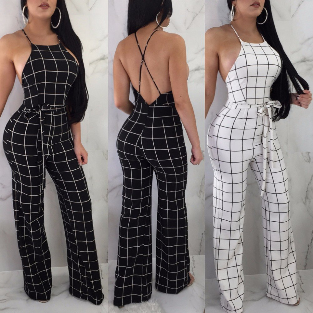 0f6cd0998a7 Plaid Print Casual Jumpsuit Spaghetti Strap Backless Summer Rompers Back  Zipper Sashes Loose Overalls CM196
