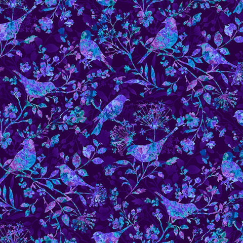 Face Mask with Filter Pocket:  Flora Birds in Dark Purple