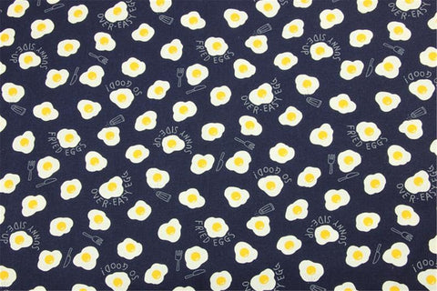 Face Mask with Filter Pocket:  Fried Eggs on Navy