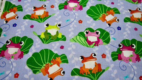 Face Mask with Filter Pocket:  Frogs on Lily Pads