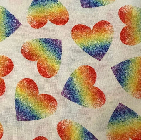 Face Mask with Filter Pocket:  Rainbow Hearts