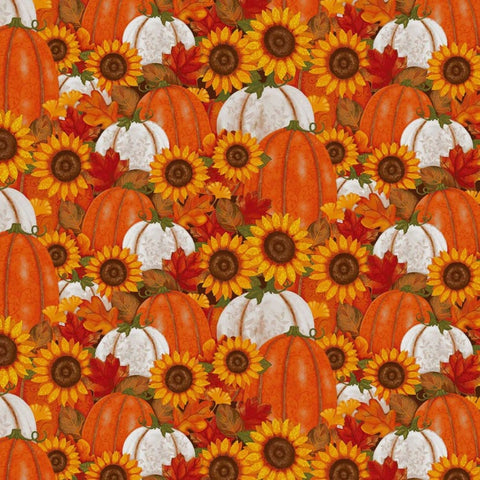 Face Mask with Filter Pocket:  Sunflowers and Pumpkins