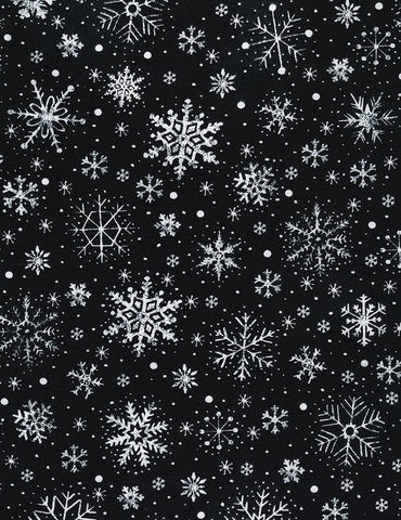 Face Mask with Filter Pocket:  Snowflakes on Black