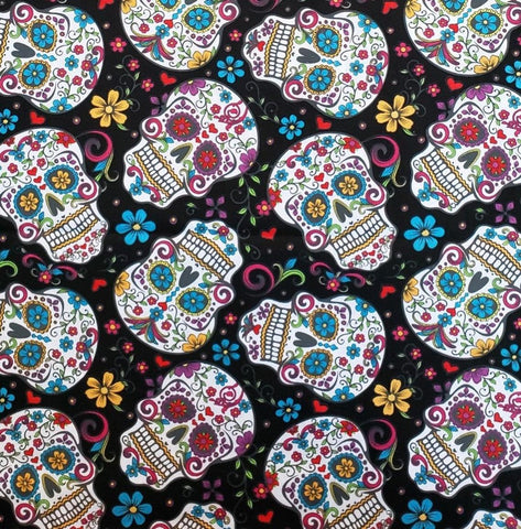 Face Mask with Filter Pocket:  Sugar Skulls
