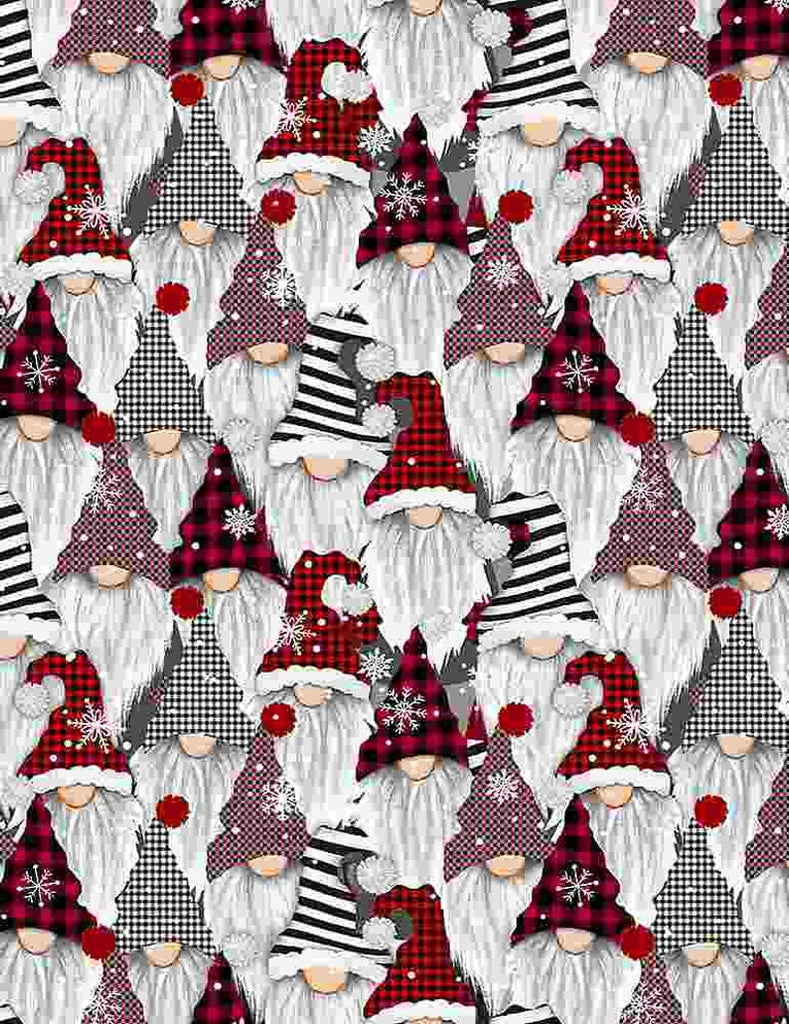 Face Mask with Filter Pocket:  Buffalo Plaid Gnomes