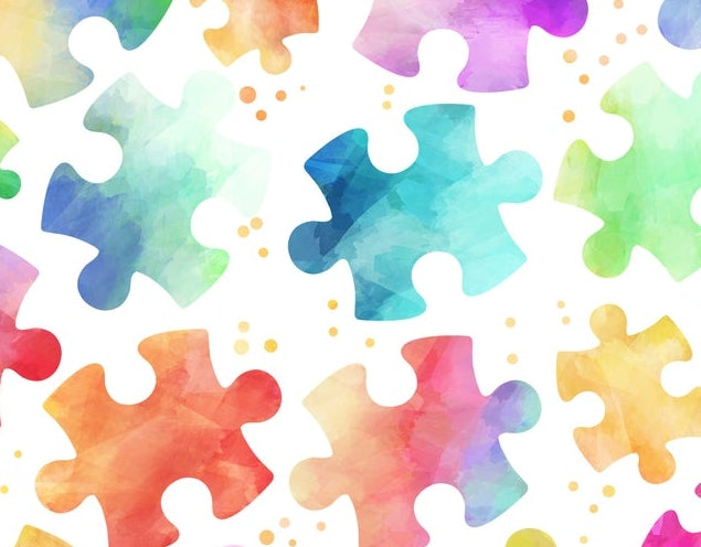 Face Mask with Filter Pocket:  Autism Speaks Rainbow Puzzle