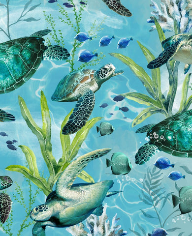 Face Mask with Filter Pocket:  Swimming Sea Turtles