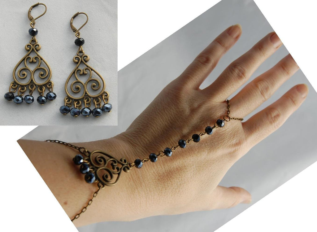 """Leila"" Bellydancer Slave Bracelet and Earrings Set - READY TO SHIP"