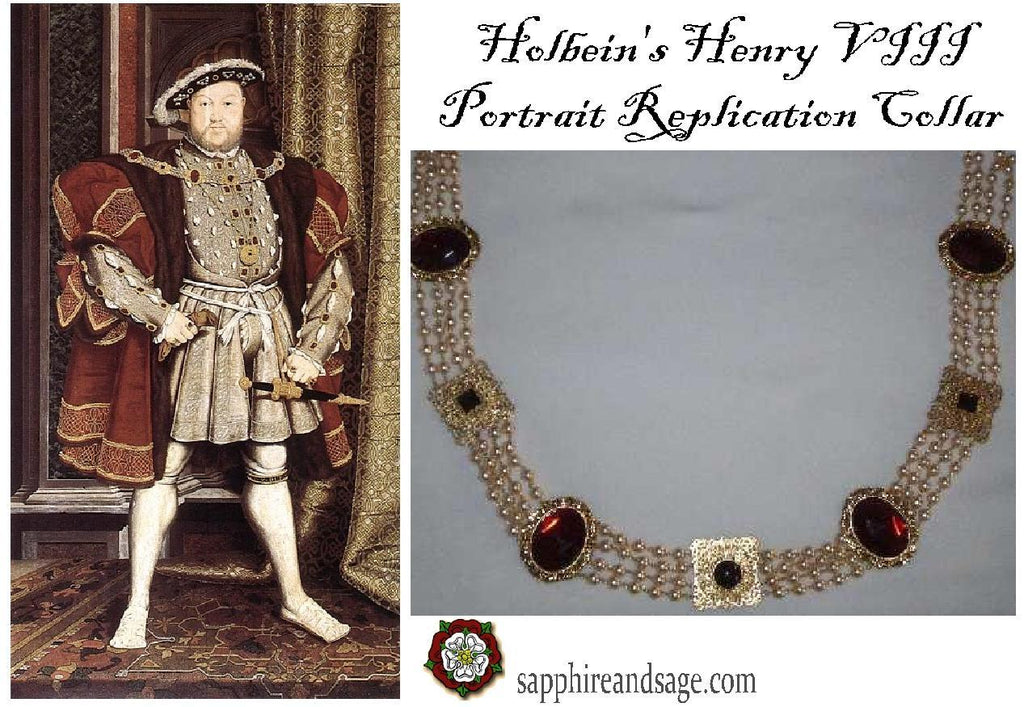 """King Henry VIII"" Hans Holbein Portrait Replication Collar, 48-52 inches"