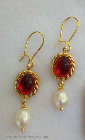 """La Bella"" Titian Portrait Replica Renaissance Earrings"