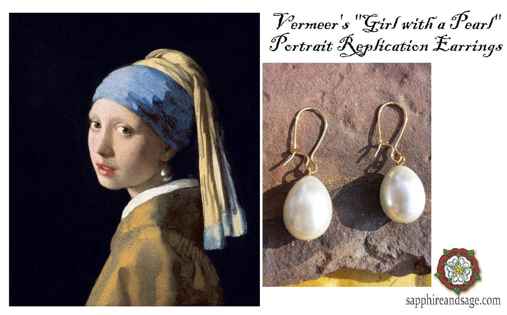 """Girl with a Pearl"" Vermeer Portrait Replica Renaissance Earrings"