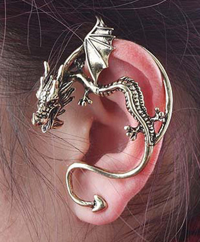 """Dragon Wrap"" Pierced Renaissance Earring in GOLD, SILVER, or BLACK - READY TO SHIP"