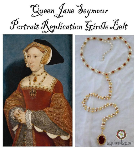 """Queen Jane Seymour"" Hand Holbein Portrait Replication Girdle Belt, 50-55"" waist"