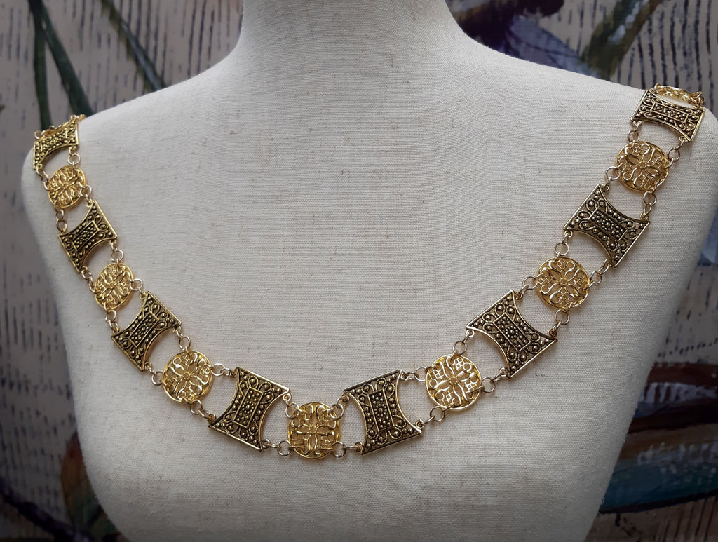 """Maddox"" Jeweled Livery Collar in Gold"