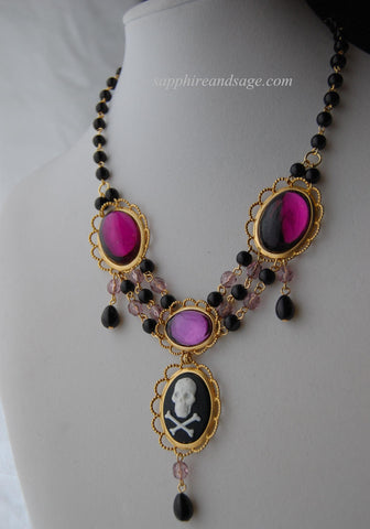 """Constantina"" Renaissance Pirate Skull Necklace"