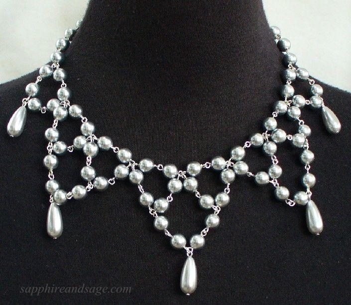 """Michaela"" Festoon Pearl Necklace"