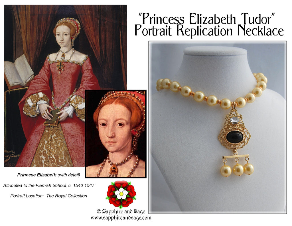"""Princess Elizabeth Tudor"" Renaissance Portrait Replication Necklace"