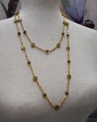 """Margeaux"" Extra-long Wrapable Renaissance Necklace in Gold - READY TO SHIP"