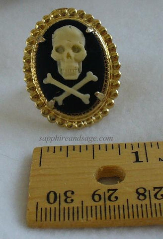 """Jolly Roger"" Pirate Skull Cameo 25x18mm Finger Ring"
