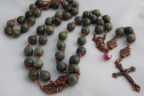 Oversized Traditional Heirloom-quality Rosary, 10mm serpentine and copper beads - READY TO SHIP