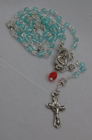 Pocket-sized Traditional Heirloom-quality Rosary, 4mm aquamarine glass beads - READY TO SHIP