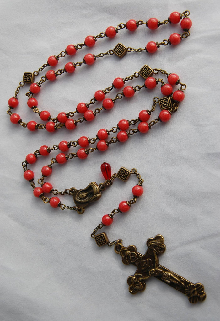 Pocket-sized Traditional Heirloom-quality Rosary, 6mm coral beads - READY TO SHIP
