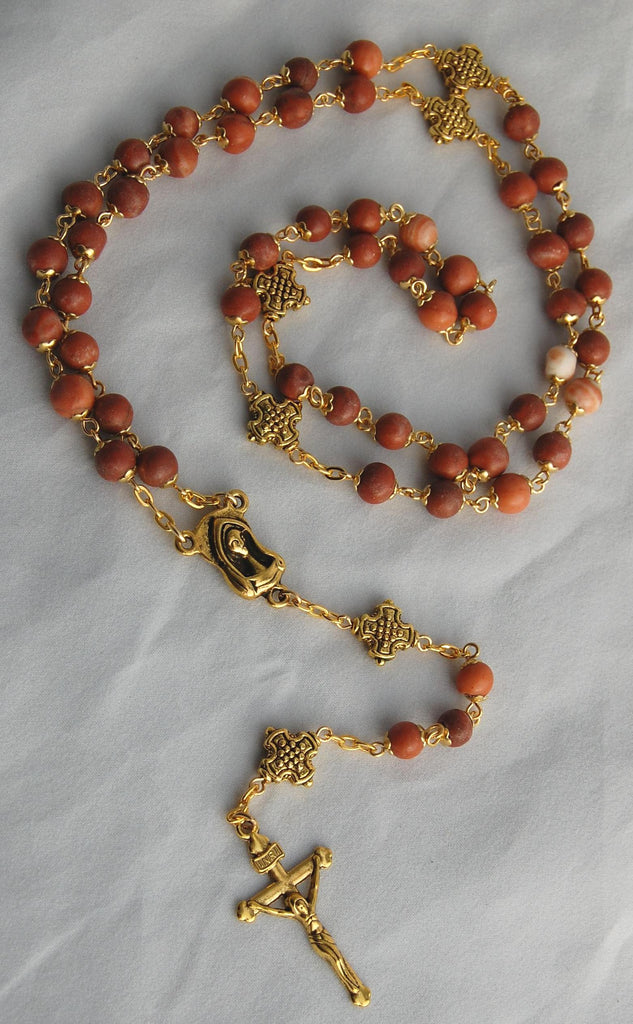 Pocket-sized Traditional Heirloom-quality Rosary, 6mm tigerskin jasper beads - READY TO SHIP