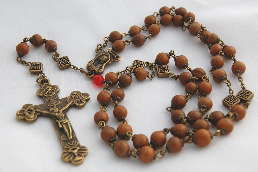 Pocket-sized Traditional Heirloom-quality Rosary, 7mm tigerskin jasper beads - READY TO SHIP