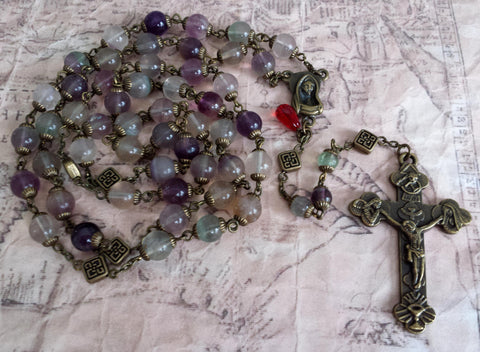 Oversized Traditional Heirloom-quality Rosary, 8mm rainbow fluorite beads - READY TO SHIP