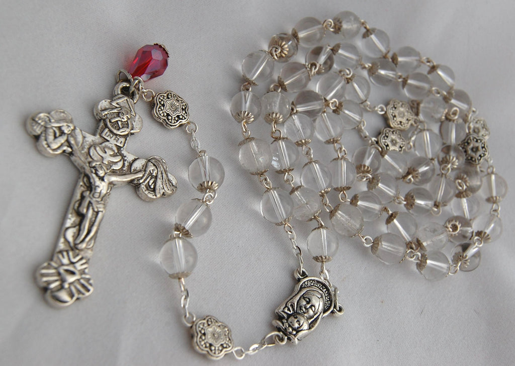 Oversized Traditional Heirloom-quality Rosary, 8mm quartz crystal beads - READY TO SHIP