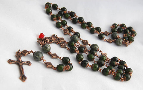 Oversized Traditional Heirloom-quality Rosary, 8mm aventurine and serpentine beads - READY TO SHIP