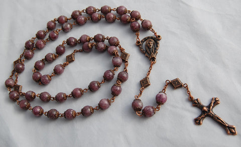Oversized Traditional Heirloom-quality Rosary, 8mm lilac stone and copper beads - READY TO SHIP
