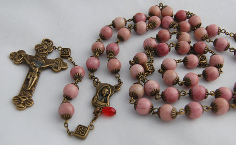 Oversized Traditional Heirloom-quality Rosary, 8mm rhodochrosite and bronze beads - READY TO SHIP