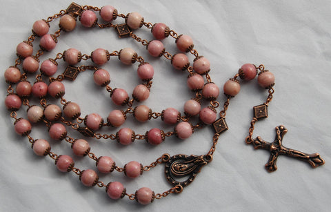 Oversized Traditional Heirloom-quality Rosar, 8mm rhodochrosite and copper beads - READY TO SHIP