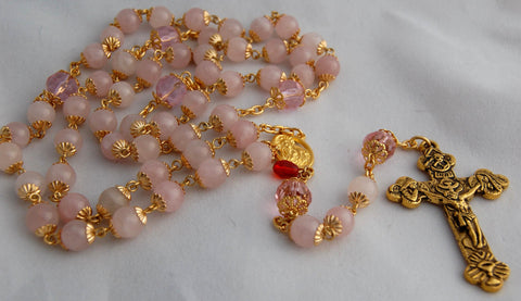 Oversized Traditional Heirloom-quality Rosary, 8mm rose quartz beads - READY TO SHIP