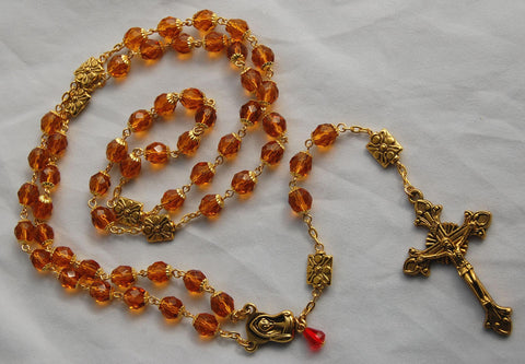 Oversized Traditional Heirloom-quality Rosary, 8mm topaz glass beads - READY TO SHIP