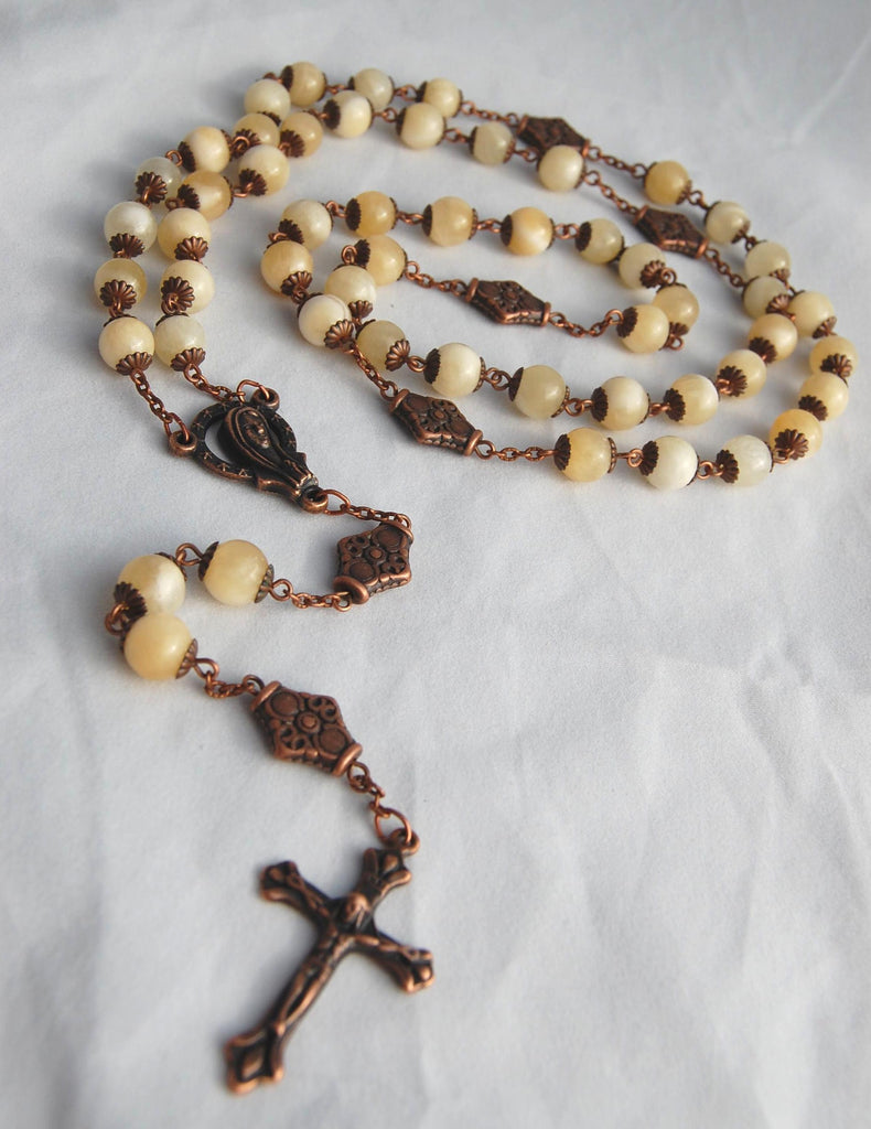 Oversized Traditional Heirloom-quality Rosary, 8mm yellow calcite beads - READY TO SHIP