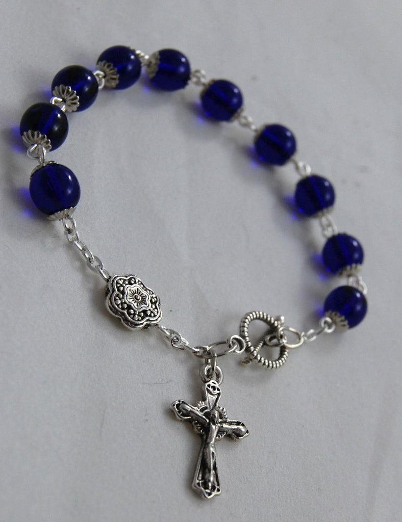 Rosary Bracelet, 8mm Cobalt Blue Smooth Druk Glass Beads - READY TO SHIP