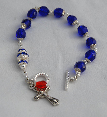 Rosary Bracelet, 8mm Cobalt Blue Faceted Glass and Crystal Beads - READY TO SHIP