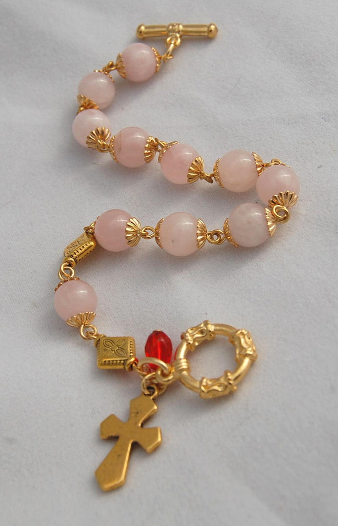 Rosary Bracelet, 8mm Rose Quartz Crystal Beads - READY TO SHIP