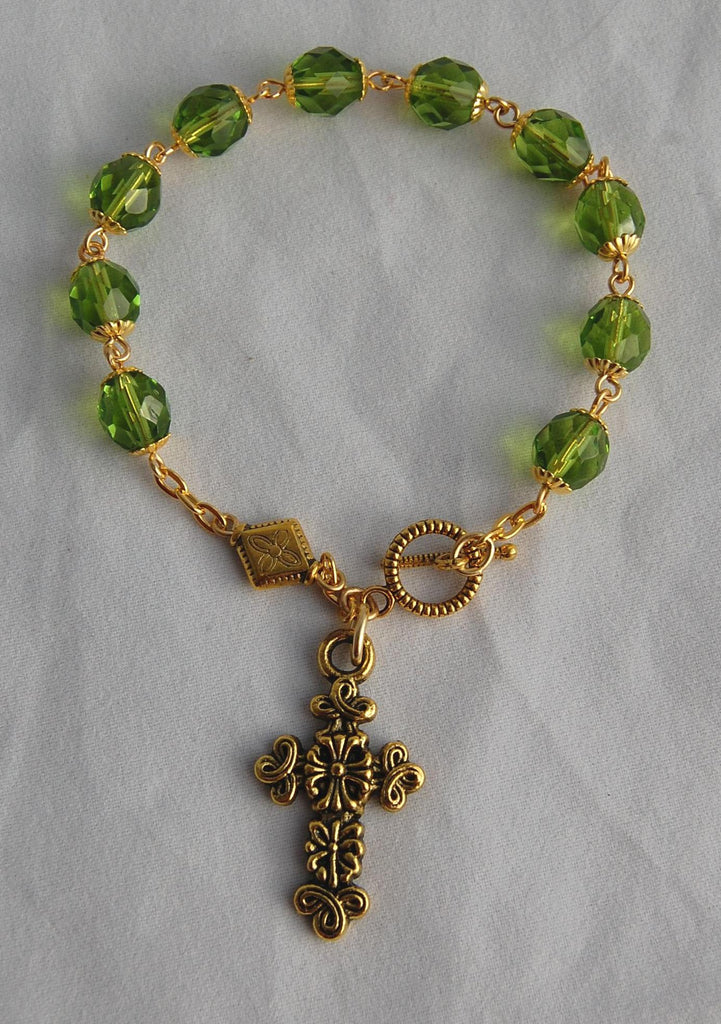 Rosary Bracelet, 8mm Faceted Olivine Glass Beads - READY TO SHIP