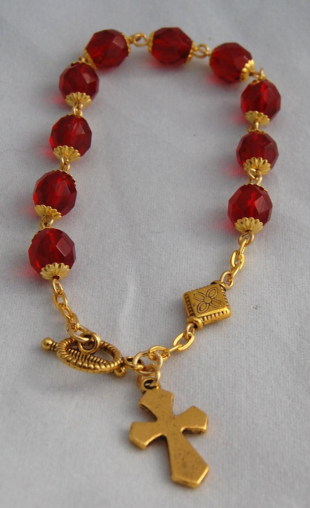 Rosary Bracelet, 8mm Faceted Ruby Red Glass Beads - READY TO SHIP