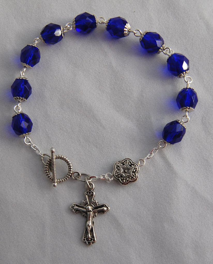 Rosary Bracelet, 8mm Cobalt Blue Faceted Glass Beads - READY TO SHIP