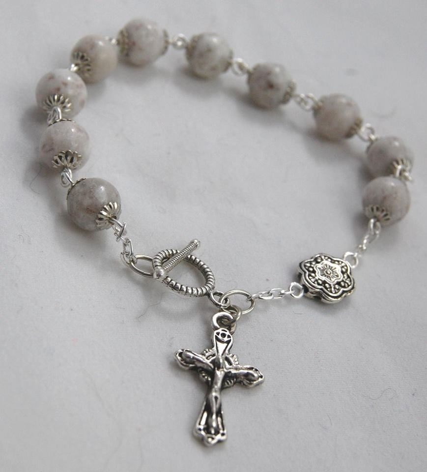 Rosary Bracelet, Grey Feldspar Beads - READY TO SHIP