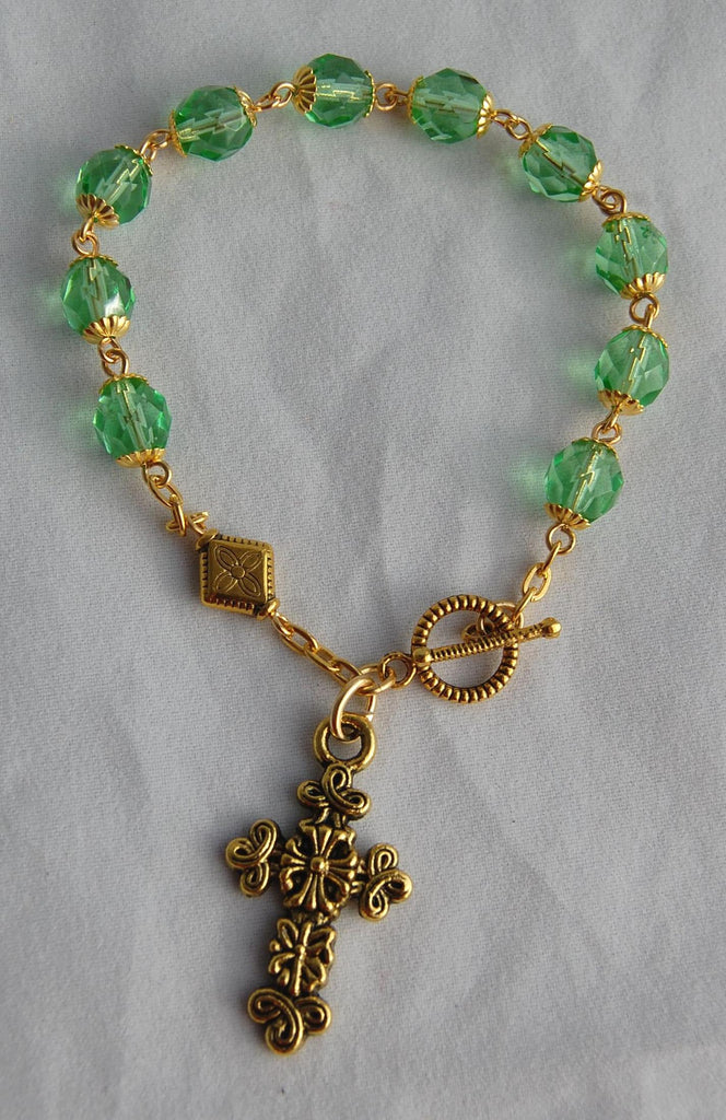 Rosary Bracelet, 8mm Faceted Peridot Glass Beads - READY TO SHIP