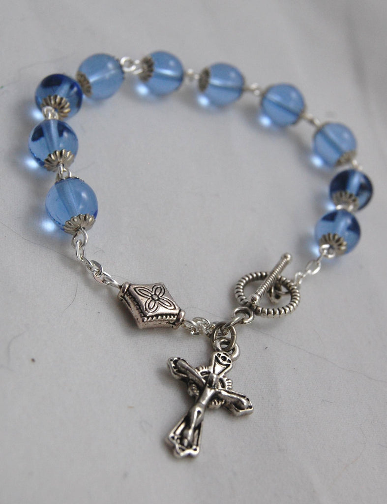 Rosary Bracelet, Light Sapphire Smooth Druk Beads - READY TO SHIP