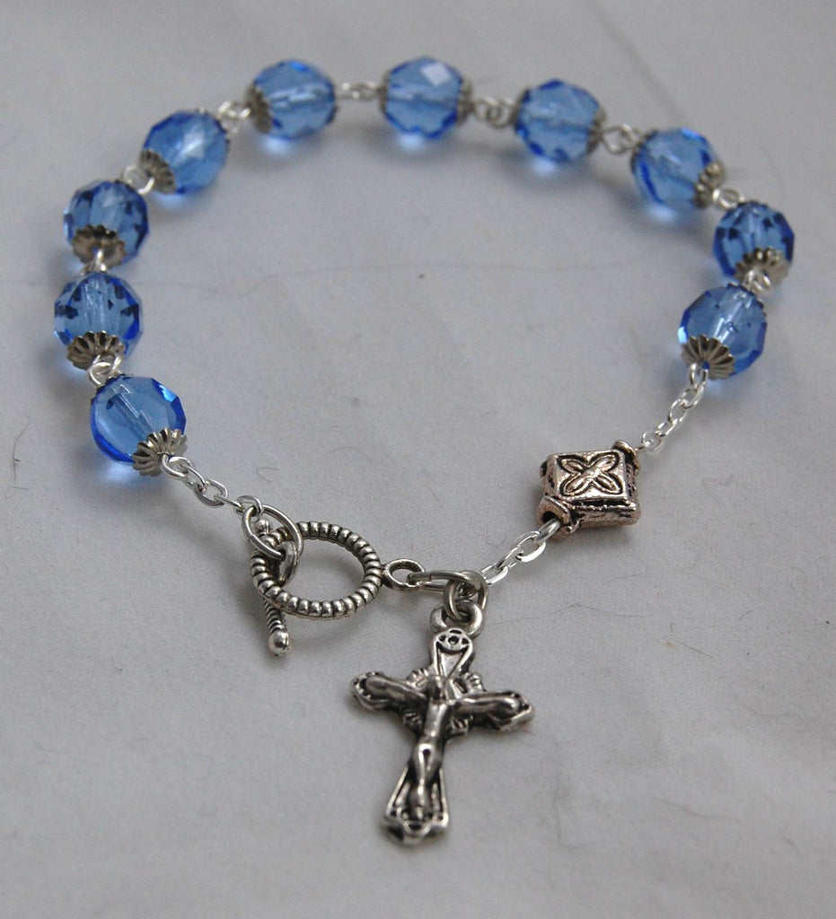 Rosary Bracelet, 8mm Faceted Light Sapphire Glass Beads - READY TO SHIP