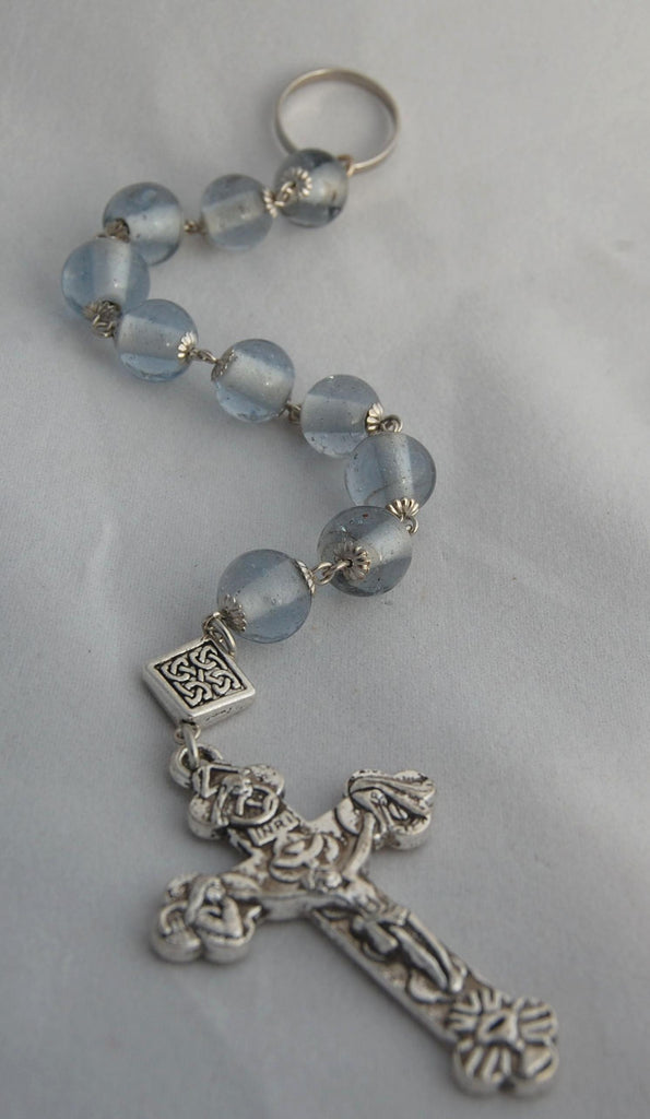 Oversized Linear Rosary, 14mm Ice Blue Glass Beads - READY TO SHIP