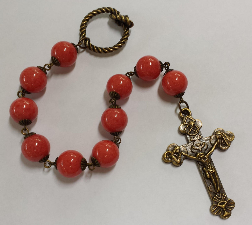 Oversized Linear Rosary, 14mm Coral Mountain Jade Stone Beads - READY TO SHIP